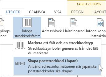 Kommando för infogning av det japanska postnumret