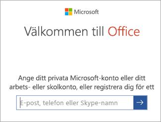 Skriv in e-postadressen till ditt Microsoft-konto eller Office 365-konto