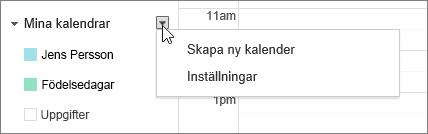 Välj Min kalender och välj sedan Inställningar