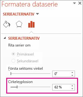 Cirkel explosion skjutreglaget i fönstret Formatera dataserie