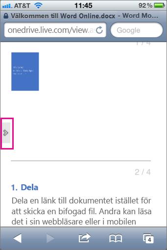 Öppna verktygsfältet i en Office Mobile Viewer genom att trycka på skärmen