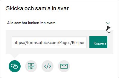 Fyra delningsalternativ för formulär visas: Kopiera, skicka med e-post, QR-kod och mer