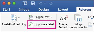Fliken Referenser med en ruta kring Uppdatera tabell