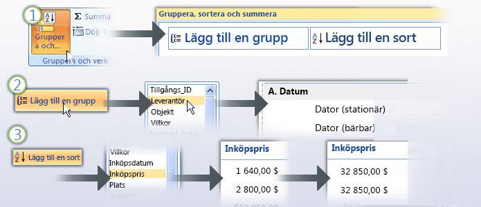 Gruppera och sortera data i en rapport