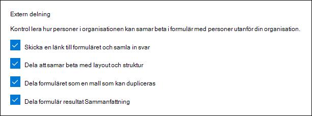 Microsoft Forms-administrationsobjekt för extern delning