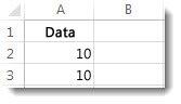 Data i cellerna A2 och A3 i ett Excel-kalkylblad