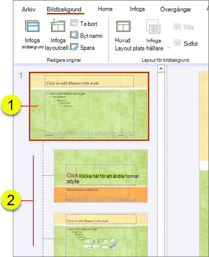 Bildbakgrund och layouter