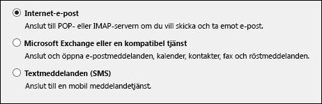 Outlook 2010 välj tjänst för nytt konto