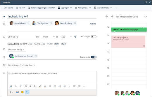Schemalägga ett möte i Outlook på webben