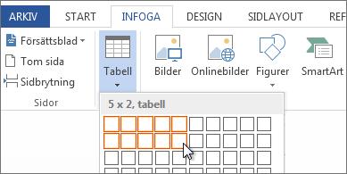 Infoga ett tabellrutnät