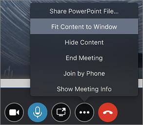 Skärmbild som visar passa innehåll alternativ för programfönstret