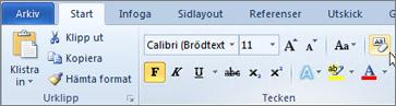 Klicka på Radera formatering på fliken Start.