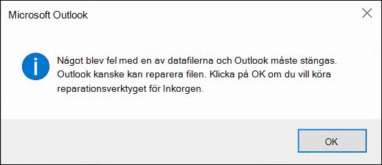 Något är fel med en av dina datafiler och Outlook måste stängas.