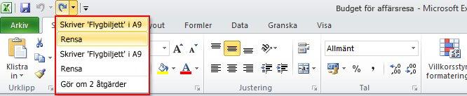 I Excel kan du göra om flera godkända åtgärder på en gång.
