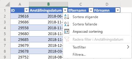 Tabell med 4 kolumner: ID, Anställningsdatum, Efternamn och Förnamn. Autofilter-menyn har öppnats för kolumnen Anställningsdatum