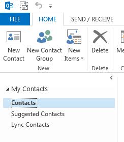 Högerklicka på mappen Kontakter under Mina kontakter.