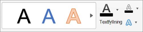 Klicka på Textfyllning, textkontur och texteffekter