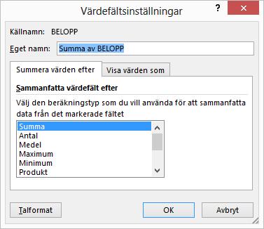 Dialogrutan Värdefältsinställningar i Excel för alternativen för Summera värden efter