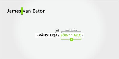 Formel som avgränsar ett förnamn och ett efternamn med två delar
