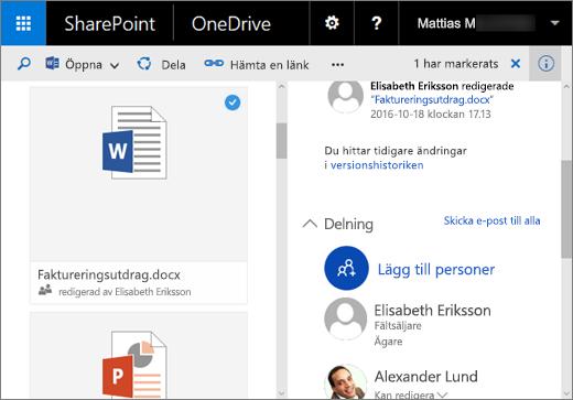 Skärmbild av informationsfönstret i OneDrive för företag i SharePoint Server 2016 med funktionspaket 1
