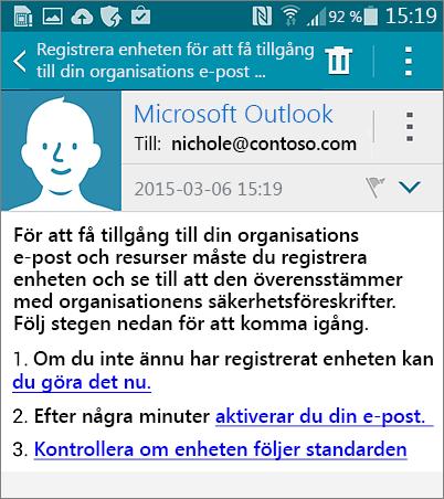 E-postmeddelande för registrering för Android