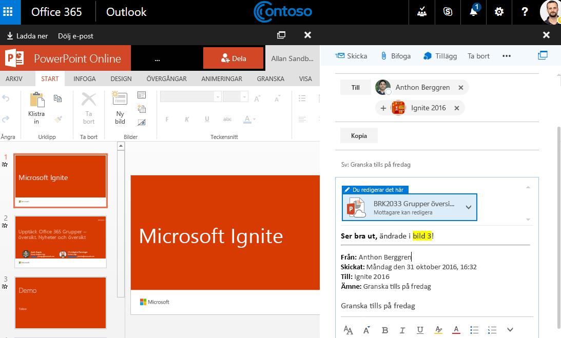 Skärmbild med e-postbilagor
