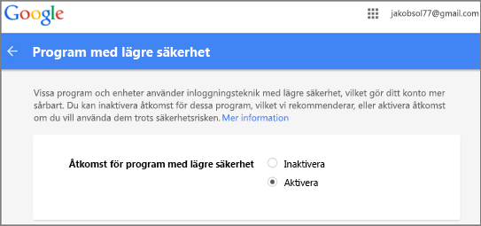 Du måste logga in till Google Gmail för att ge Outlook åtkomst