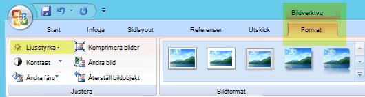 Välj ljusstyrka i gruppen justera på fliken Format för Bildverktyg