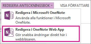Redigera anteckningsbok i OneNote Online