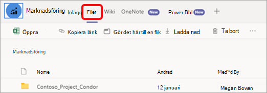 Fliken Filer högst upp på kanalsidan