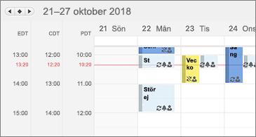 Kalender som visar tre tidszoner