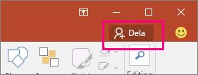 Visar knappen Dela i menyfliksområdet i PowerPoint 2016