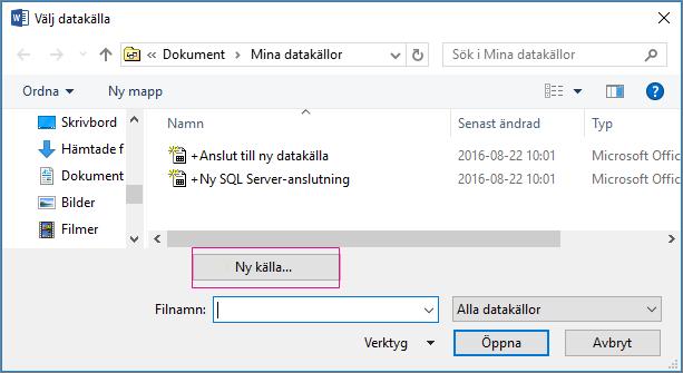 dokumentkoppling för datakälla