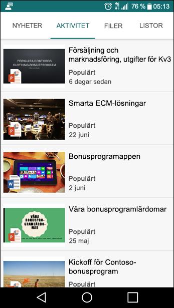Mobilvy i SharePoint-gruppwebbplats