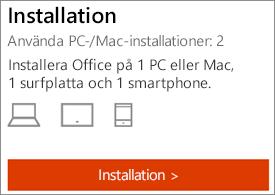Visar antalet installationer och knappen installera