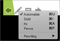 Skärmbilden visar de tillgängliga alternativen för pekaren som används i ett bildspel. Alternativen är Automatisk, Dold, Pil, Penna och Pennfärg.