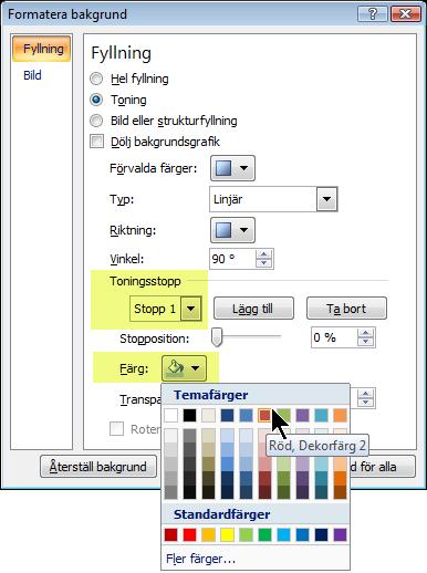 Om du vill anpassa toningens färgschema markerar du ett toningsstopp och väljer en färg.