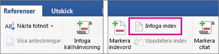 Infoga index är markerat på fliken Referenser