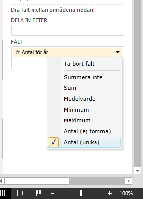 Välj Antal (unika) i Power View-fält
