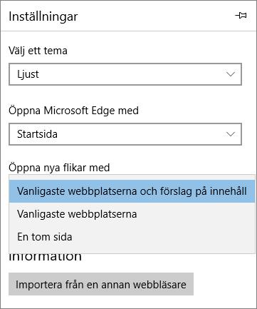 Edge-inställningar för att visa fliken Mitt Office 365