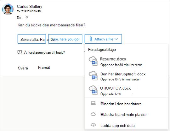 Bifoga föreslagna filer i Outlook.