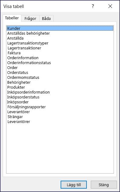 Dialogrutan Visa tabell i Access som visar tabellnamn