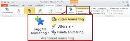 Gruppen Avancerad animering på fliken Animering i menyfliksområdet i PowerPoint 2010.