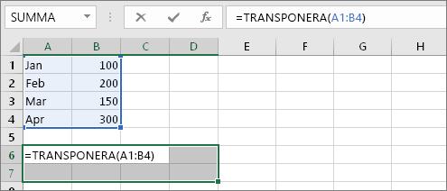 =TRANSPONERA(A1:B4)