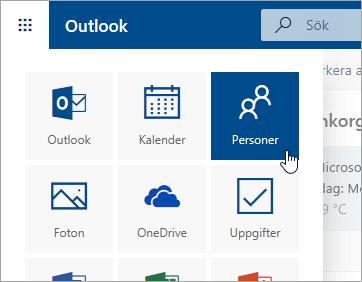 En skärmbild av panelen Kontakter i appfönstret