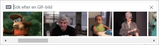 Lista över tillgängliga GIF-filer