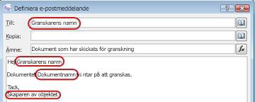 E-postmeddelande som belyser potentiella områden för infogande av sökningar