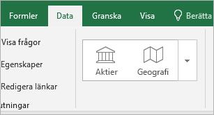 Fliken Data, knapparna Aktier och Geografi