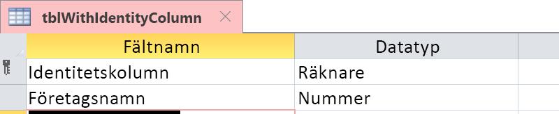 Visa att identitetskolumnen identifieras som ett Räknare-fält