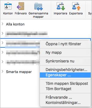 Visar snabbmenyn för en Exchange-mapp med egenskaper markerat